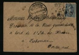 132 - 25c Semeuse Lignée - Lisbonne - Portugal - Croisière De La Revue Générale Des Sciences- Bateau De L'Île De France - Marcophilie (Lettres)