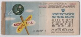 ISRAEL EL AL AIRLINES PASSENGER TICKET 1970 - Billets D'embarquement D'avion