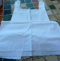 L1-008 Chemise Ancienne,encolure Festonnée,broderie Sur Le Devant Grande Taille - Vintage Clothes & Linen