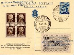 CARTOLINA POSTALE POSTA AEREA 70 CENT. - SETTIMANA FILATELICA ROMANA - 1.1.1945 - Storia Postale