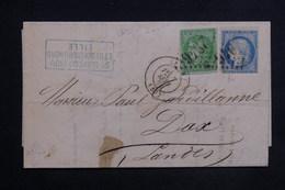 FRANCE - Affranchissement De Septembre 1871 De Lille Sur Lettre Pour Dax , Affranchissement Bordeaux / Cérès - L 23486 - Marcophilie (Lettres)