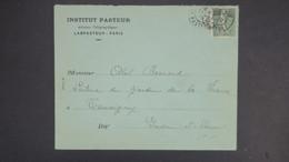 Lettre Paris 1919 En Tete Institut Pasteur Perforé LP (112) Ancoper Sur Semeuse 130 - Frankreich