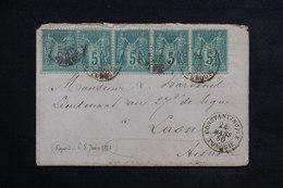 FRANCE - Affranchissement Type Sages ( Bande De 3 + 2 Ex) De Constantinople Pour Laon En 1880 - L 23492 - Marcophilie (Lettres)