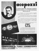 "PUB  COMPAGNIE Des TUBES LUMINEUX  "" CTL ""   1930 ( 1 ) - Technical"