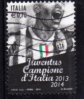 ITALIA REPUBBLICA ITALY REPUBLIC 2014 LO SCUDETTO ALLA JUVENTUS CAMPIONE DI CALCIO D'ITALIA  USATO USED OBLITERE' - 6. 1946-.. Repubblica