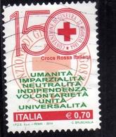 ITALIA REPUBBLICA ITALY REPUBLIC  2014 CROCE ROSSA 150° RED CROSS CROIX ROUGE USATO USED OBLITERE' - 6. 1946-.. Repubblica