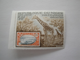 1969 Niger Yv PA 104  ** MNH Faune Girafe Cote 4.00 € Michel 210  Scott C 104 SG 310  Timbre Sur Timbre - Niger (1960-...)
