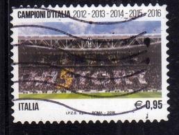 ITALIA REPUBBLICA ITALY REPUBLIC 2016 CAMPIONATO DI CALCIO LO SCUDETTO ALLA JUVENTUS CAMPIONE € 0,95 USATO USED OBLITERE - 6. 1946-.. Repubblica