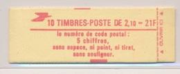 Carnet 2319 C2 Liberte De Delacroix Code Postal Conf 9 Ouvert - Usage Courant