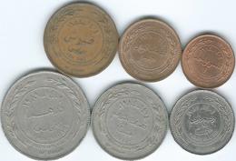 Jordan - Hussein - 2nd Head Issues - 1 (1984)  5 (1978) 10 (1984) 25 (1981) 50 (1984) & 100 Fils (1989) (KM35-40) - Jordanie