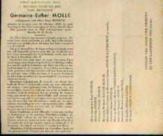 Souvenir Mortuaire MOLLE Germaine (1895-1946) Echtg. SNOECK, P. Geboren Te DINANT Overleden Te IEPER - Images Religieuses