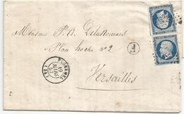 """- MORBIHAN - PLOERMEL PC.2462s/TPND N°14 Bleu Trés Fonçé + BR """"F"""" + Càd T.15 -1857 - 1853-1860 Napoleon III"""