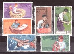 Laos - 1957 - N° 37 à 39 + PA 24 à 26 - Neufs ** - Musiciens - Laos