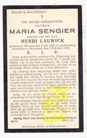 DP Maria Sengier ° Menen 1876 † Oostkamp 1914 X Henri Lauwick - Images Religieuses