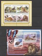 I557 2008 GUINE-BISSAU FAUNA BIRDS ANIMALS LIONS LEOES E AVES 1KB+1BL MNH - Birds