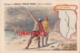 Chromo Chocolat Poulain Orange. Les Armes à Travers Les Ages - L'Arc - Format Env 10,5 Cm Par 7 Cm - Poulain