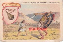 Chromo Chocolat Poulain Orange. Les Armes à Travers Les Ages - La Fronde - Format Env 10,5 Cm Par 7 Cm - Poulain