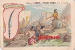 Chromo Chocolat Poulain Orange. Les Armes à Travers Les Ages - La Faux De Guerre - Format Env 10,5 Cm Par 7 Cm - Poulain