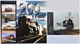 Palau 2004**Mi. Klb.2393-96 + Bl.186 200 Years Of Trains MNH [7II;108] - Trains