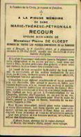 Souvenir Mortuaire RECOUR Marie (1863-1930) Ep. DE CLOEDT, P. Née Et Morte à BRUGES - Images Religieuses