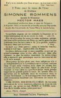 Souvenir Mortuaire ROMMENS Simonne (1897-1953) Ep. MAES, H. (Imp. Danneels-Taillieu, Poperinghe) - Images Religieuses