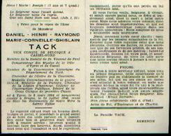 Souvenir Mortuaire TACK Daniel (1884-1946)) Né à YPRES Mort à BRUGES – VICE-CONSUL à CASSEL (France – Nord) - Images Religieuses