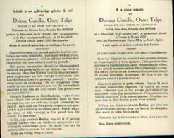 Souvenir Mortuaire TALPE Camille (1867-1952) Geboren Te MOORSLEDE Overleden Te KUURNE - Dokter - Images Religieuses
