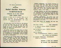 Souvenir Mortuaire TEMPERMAN Rachel (1899-1966) Echtg. SCHEPEN, O. Geboren En Overleden Te IEPER - Images Religieuses
