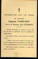 Souvenir Mortuaire VAILLANT Augusta Veuve GOMMERS, Jean - Images Religieuses