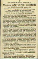 Souvenir Mortuaire VALCKE Marie (1885-1935) Ep. COMER, A.  Née à AVELGHEM Morte à BRUGES - Images Religieuses