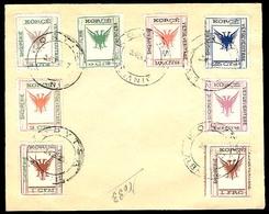 ALBANIA. 1917. Sc. 54/61. Complete Set Used On Envelope. Scarce. - Albanie