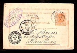 BRAZIL. 1891. Pelotas - Germany. 80r. Stat. Card. VF.3 - Brazil