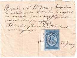 TIMBRE QUITTANCES RECUS.10 Centimes SUR RECU DATANT DE 1875 - 1871-1875 Ceres