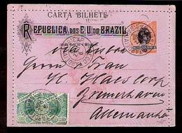 BRAZIL. 1898. Bahia / Exp. Tarde - 4ª / - Germany. Stat. Card + Adtls. VF. - Brasile
