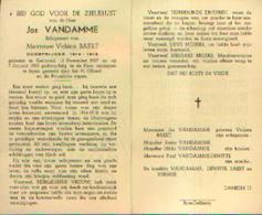 Souvenir Mortuaire VANDAMME Jos (1897-1955) Geboren GELUVELD Overleden Te IEPER – Oudstrijder 14/18 - Images Religieuses