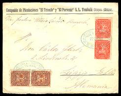 "MEXICO. 1899. Tumbala / Chiapas - Germany. Env Frkd 2c (2) + 3c (2). Blue Oval Ds. ""Agencia Correos"". VF-XF. Via Tabasco - Mexico"