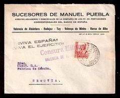 E-PROVINCIAS. 1938. BADAJOZ. Valencia Alcantara A Segovia. Sobre Con Franqueo Y Censura. MB. - Zonder Classificatie