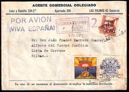 E-GUERRA CIVIL. 1937 (Oct). Las Palmas / Canarias - Bilbao. Via Aerea Con Locales, Patriotico Y Viñeta Matasellada. Prec - Spagna