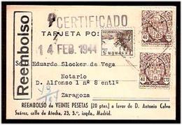 E-ESTADO ESPAÑOL. 1944 (14 Feb). Madrid - Zaragoza. TP Certificada / Reembolso. Multiple. - Non Classificati