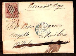 E-PROVINCIAS. 1856. 40. MADRID - Villafranca. Barros - Reexpedida. Carta. - Spain