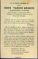 Lot De 2 Souvenirs Mortuaires VAN DER GHINSTE Omer (1569-1952) Né à BELLEGHEM Mort à COURTRAI - Images Religieuses