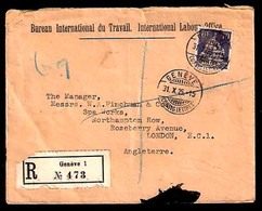 SWITZERLAND. 1925. Geneve - UK. UNITED NATIONS / Bureau Du Travail Opt. Registered Frkd 70rp Env. Scarce Usage. - Switzerland