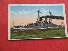 USS Dreadnought Michigan-  As Is Center Crease Left To Right    Ref 3174 - Warships