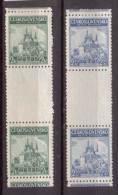 Tschechoslowakei / CSSR , 1937 , Mi.Nr. 375 / 376 * Gefalzt Se. Zwischensteg Paare - Tschechoslowakei/CSSR