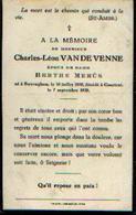 Souvenir Mortuaire VAN DE VENNE Charles (1850-1928) Né à SWEVEGHEMP Mort à COURTRAI - Images Religieuses