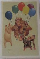 """""""Sammelbild, Affen, Schwein, Luftballon"""" 1945, Aus Dänemark ♥ (16550) - Schweine"""