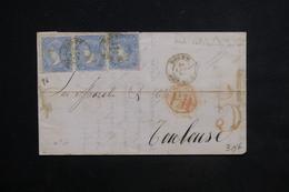 ESPAGNE - Lettre Pour Toulouse En 1872 , Affranchissement Plaisant En Bande De 3 - L 23512 - Cartas