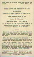 Souvenir Mortuaire VERMEULEN Marie (1879-1953) Vve DONCK, A. ) Née Et Morte  à YPRES - Images Religieuses