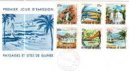 ENVELOPPE PREMIER JOUR D'EMISSION PAYSAGES ET SITES DE GUINEE 1966 - República De Guinea (1958-...)