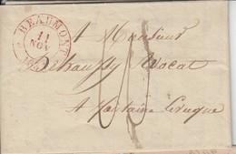 """Lac De Type   15 De BEAUMONT / 11 NOV 1831-> Fontaine L""""veque + Port 10 - 1830-1849 (Belgique Indépendante)"""